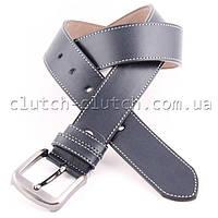 Ремень для брюк LMi 40 мм эко кожа синий со строчкой