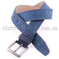 Ремень для брюк LMi 40 мм эко кожа синий замш