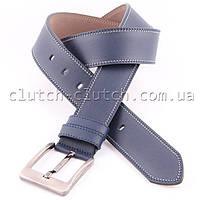 Ремень для брюк LMi 45 мм эко кожа синий с белой строчкой