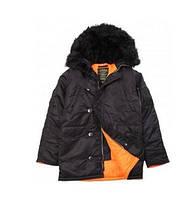 Куртка ALPHA MJN31210C1-slimf fit N-3B Black/Orange (аляска, парка, хутро, хутро)