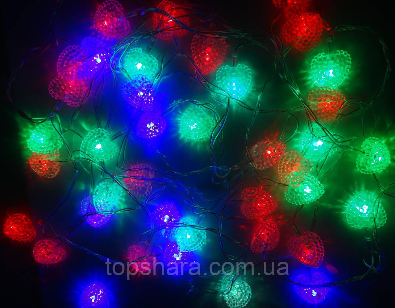 Светодиодная Гирлянда Сердечки Новогодняя на Елку 4.8м  40 LED Мульти