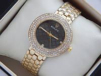 Женские кварцевые наручные часы Rolex черный циферблат с 3 рядами камней