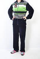 Женский велюровый костюм  в полоску зеленый 54-6