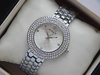 Женские кварцевые наручные часы Rolex стального цвета со стразами, фото 1