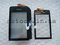 Touch screen (Сенсор) Nokia Asha 308/309/310 black с самоклейкой