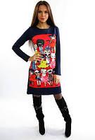 Молодежное  платье с принтом котов (размер 48)