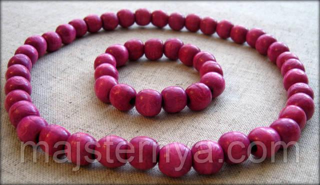 """Рожеві буси та браслет з дерева від """"Майстерня Вишиванки"""""""
