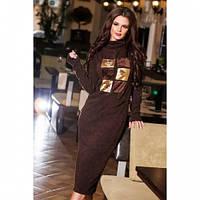 Платье женское теплое длинное 489 ангора коричневое,модные платья зима