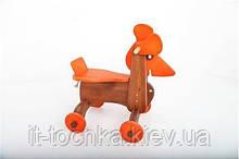 Окрашенная деревянная каталка Собака ДУ018 Руди
