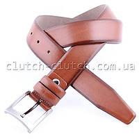 Ремень для брюк LMi 35 мм эко кожа коричневый с темными краями