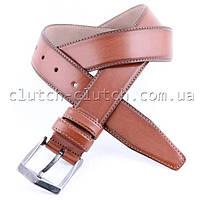 Ремень для брюк LMi 35 мм эко кожа коричневый с белой строчкой
