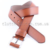 Ремень для брюк LMi 40 мм эко кожа рыжий с темными краями