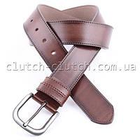 Ремень для брюк LMi 40 мм эко кожа коричневый со строчкой