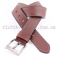 Ремень для брюк LMi 45 мм эко кожа коричневый с белой строчкой