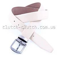 Ремень для брюк LMi 35 мм эко кожа белый со строчкой