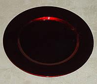 Подставка -круг красная пластик 15см