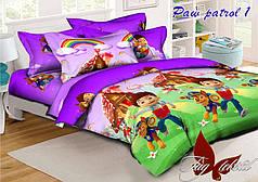 Детское полуторное постельное белье Щенячий патруль фиолетовый