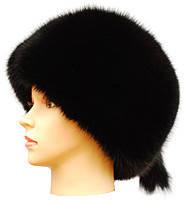 Меховая песцовая шапка  Пилотка цвет черный