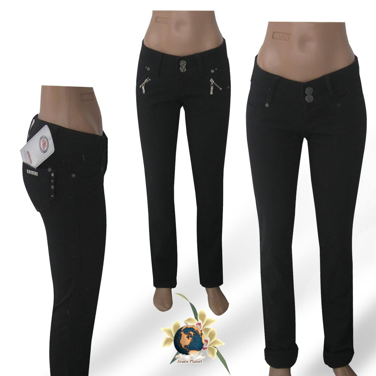 Женские узкие джинсы HLS 26-27 размер чёрного цвета на флисе.