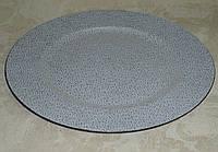 Подставка -круг сребристо-белая кружева пластик 28см