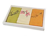 """Набор махровых кухонных полотенец """"Сакура"""" 3 шт 30Х50 см в упаковке 907-136"""