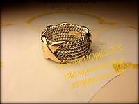 Плетеное кольцо с нахлестами в стиле Тиффани широкое, фото 1