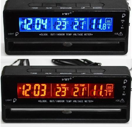 Автомобильные часы с термометром и вольтметром VST 7010V 8feb9516c92