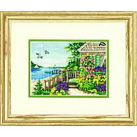"""65145 Набор для вышивания крестом """"Коттедж у пляжа//Bayside Cottage"""" DIMENSIONS"""