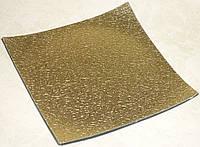 Подставка -квадрат золотистая кружево пластик 18см