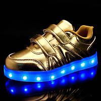 Детские LED кроссовки золотые