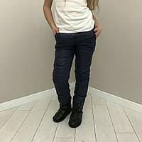 Штаны детские болоневые для девочки 9-14 лет,синие, фото 1