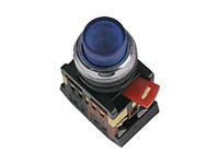 Кнопка ABLF-22 синий d22мм неон/240В1з+1р ИЭК