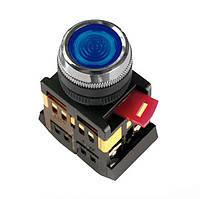 Кнопка ABLFS-22 синий d22мм неон/240В 1з+1р ИЭК