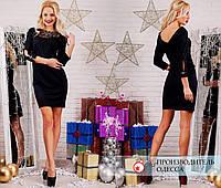Красивое чёрное платье Лира с кружевом