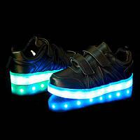 Светящиеся LED кроссовки черные для детей