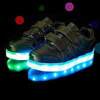 Детские светящиеся Лед LED кроссовки черные