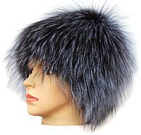 Женская меховая шапка из чернобурки Паричок (серебро )