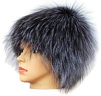 Жіноча хутрова шапка з чорнобурки Парик (срібло )