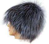 Жіноча хутрова шапка з чорнобурки Парик (срібло ), фото 2