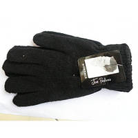 Шерстяные мужские одинарные чёрные перчатки