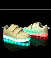 Светящиеся LED кроссовки детские белые