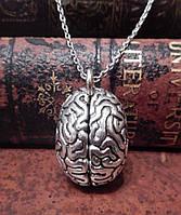 Стальной кулон анатомический мозг 3D подвеска
