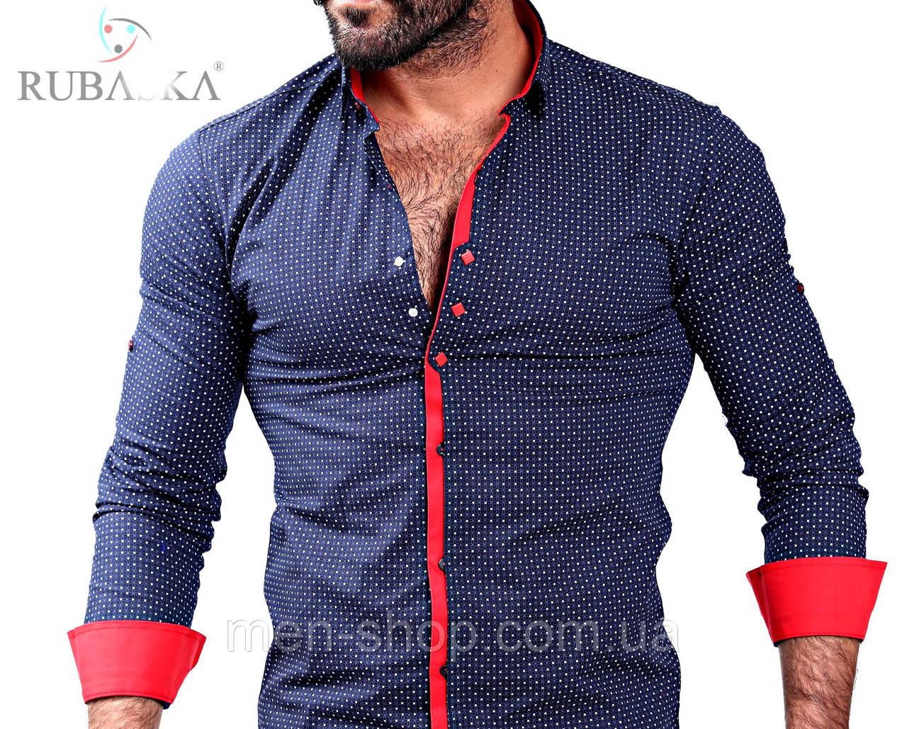 b3370375e02 Модная мужская рубашка синего цвета  продажа