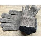 Шерстяные мужские двойные перчатки  чёрные и т. серые, фото 2