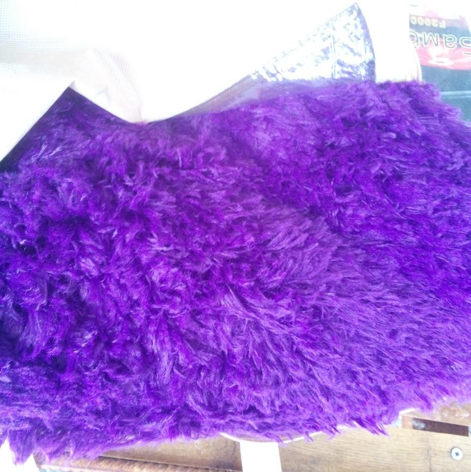 Меховой плед травка фиолетовый
