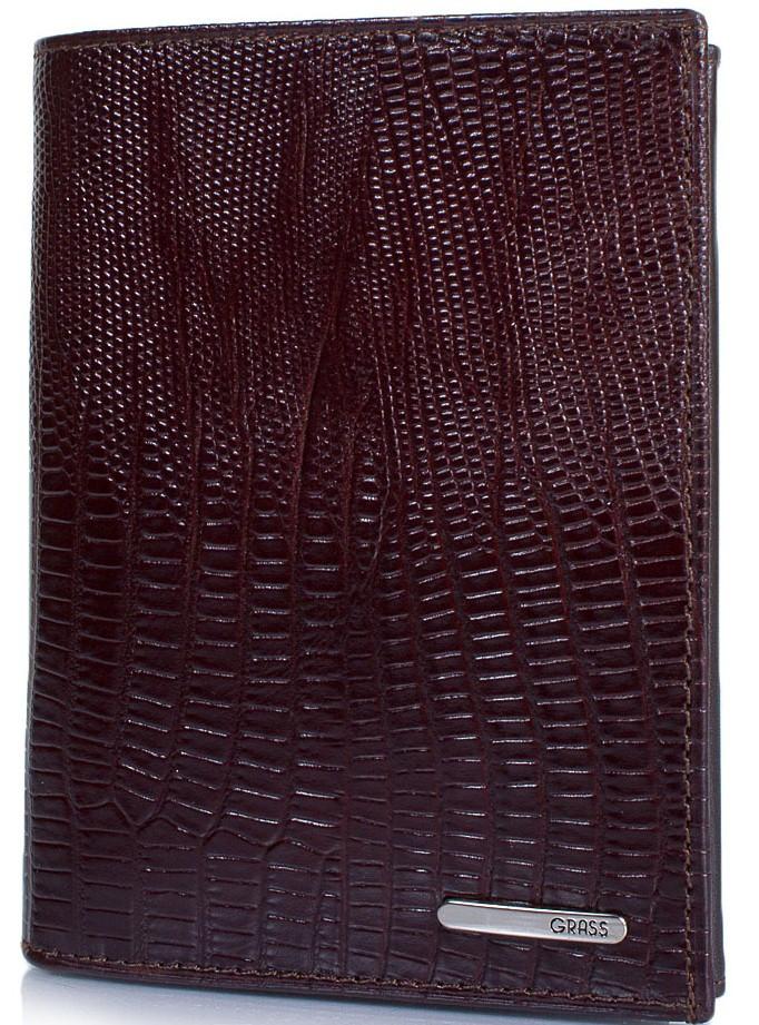 Стильное мужское портмоне из кожи под крокодила GRASS SHI325-33