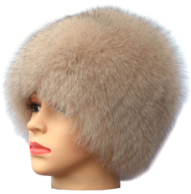 Жіноча песцева шапка парик колір бежевий