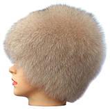 Жіноча песцева шапка парик колір бежевий, фото 2