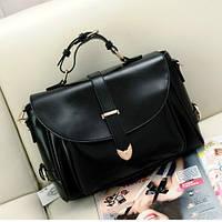 Женская винтажная сумка Почтальон черная