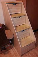 Лестница деревянная с выдвижными ящиками